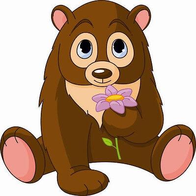 Aufkleber Bär mit Blume Autoaufkleber Sticker