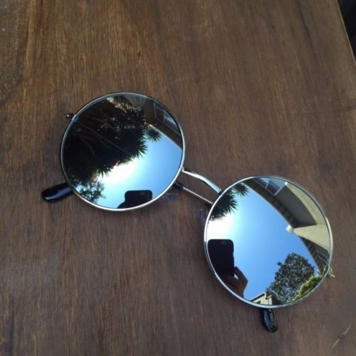 70s Medium Big BOHO Retro Fashion Round Circle Lennon Mirror LIT Sunglass 2306 M
