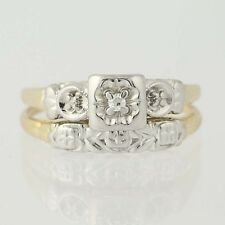 Vintage Diamond Engagement Ring & Wedding Band - 14k Gold Single Cut Size 6 3/4
