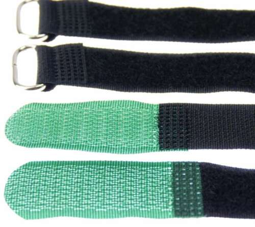 50 x Klettband Kabelbinder 20 cm x 20 mm dunkel grün Klettbänder Kabelklettband