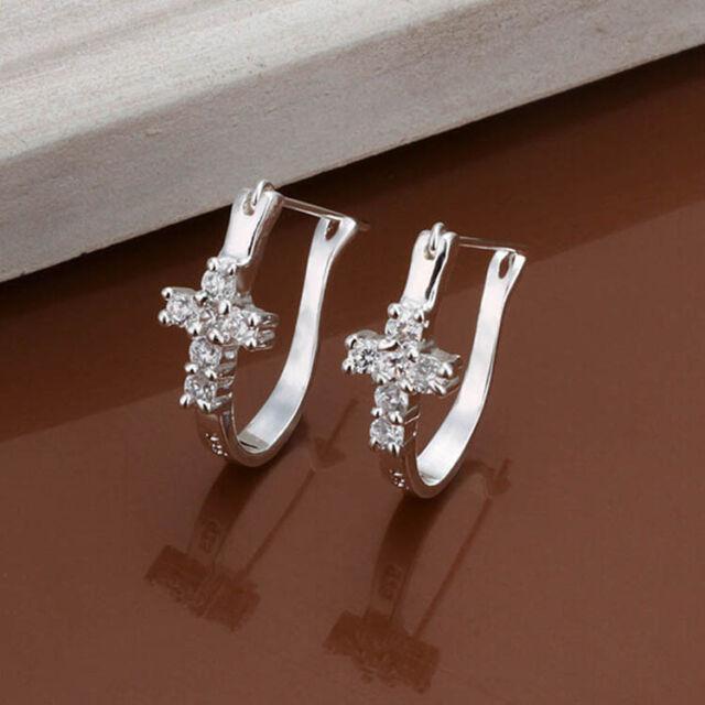 Fa'shion Silver plated Girl Cross Crystal Rhinestone Ear Hoop Earrings