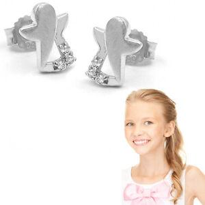 Mädchen Damen Schutz Engel Ohrstecker Zirkonia Kinder Ohrringe Echt Silber 925