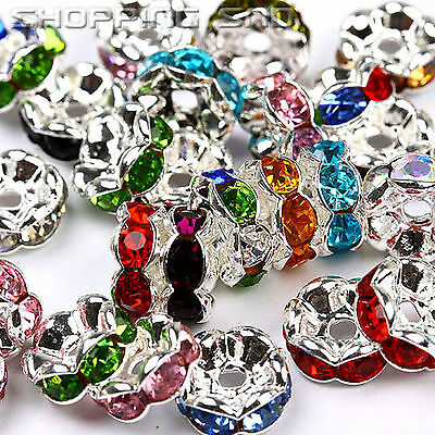 RUBYCA High Quality Czech Crystal Rhinestone Wavy Silver Rondelle Spacer Beads