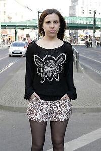 da da lavorato 80's True Black maglia lavorato a donna maglia a 80's Maglione Flower Black donna Vintage qUwtdZx