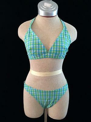Old Navy Womens M Medium 6 Swim Bathing BIKINI set w/ shorts blue green plaid
