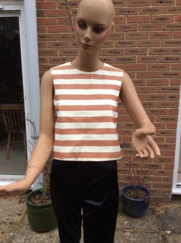 Leather S Drome Size Sleeveless Top Stripy Ppvqg