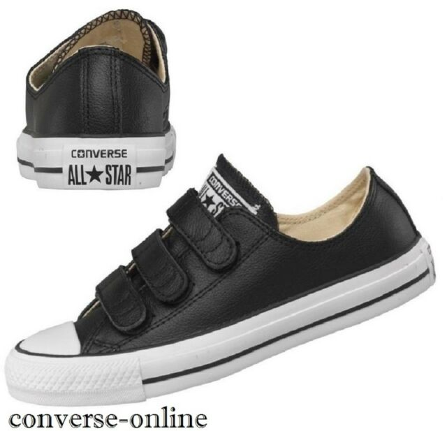 1b44bf9afb23f6 Women s Boys CONVERSE All Star BLACK LEATHER 3V STRAP Trainers Shoes SIZE UK  3.5