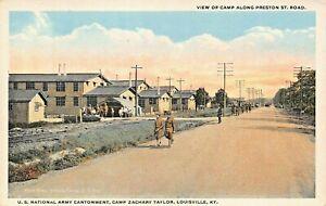 LOUISVILLE-WW1-U-S-ARMY-CAMP-Z-TAYLOR-CANTONMENT-ALONG-PRESTON-ST-ROAD-POSTCARD