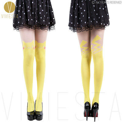CUTE PIKACHU COLORED TATTOO TIGHTS - 60D Women Girls Halloween Party Pantyhose