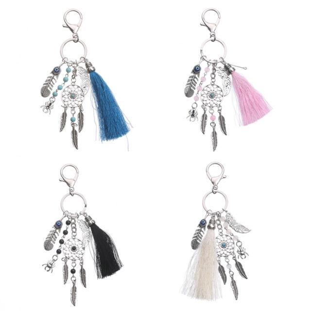 Silver Key Chain Ring Bohemian Wool Tassels Dream Catcher Keychain Keyring Gift