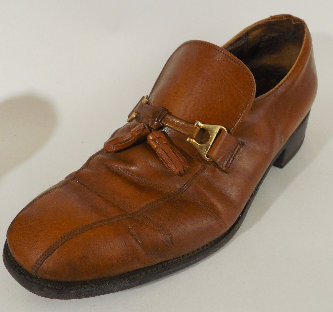 Florsheim Royal Imperial Mens Sz 9 D Brown Tassel Leather Dress shoes Preowned