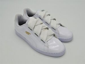brand new a2fb4 195fb Details about D568L New Women's Puma Basket Heart Patent White Athletic  Shoe 11 M