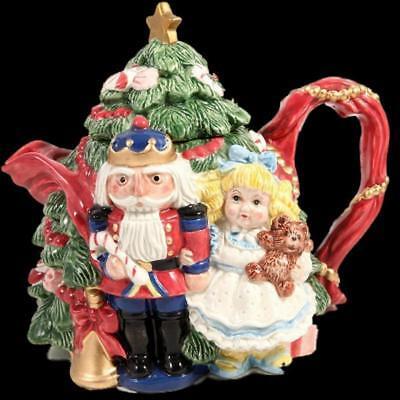 Fitz Floyd Vtg Nutcracker Sweet Teapot Toy Soldier Clara Sugar Plum Fairy 19/924