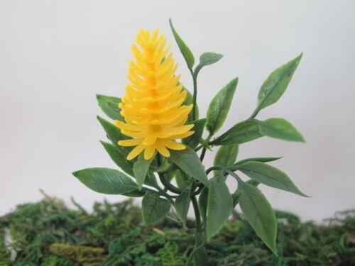 Miniature Yellow Celosia Caracas Flower Plant Bush Landscape Model Dollhouse GL6