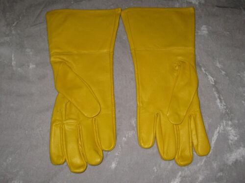 York Rites Yellow Leather Gloves Masonic Ceremony Logo Crown Cross NEW!