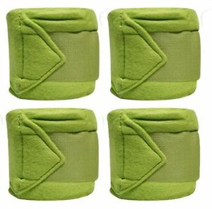 LIME-GREEN-Fleece-Polo-Leg-Wraps-Set-of-Four-NEW-HORSE-TACK