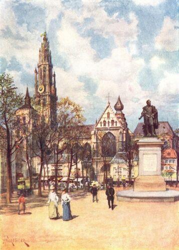 The Place Verte Antwerp 1908 old antique vintage print picture BELGIUM