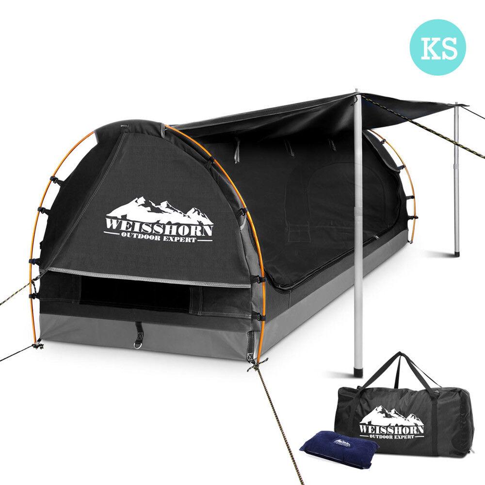 nuovo campeggio all'aperto Canvas Swag Tent with Mattress & Air Pillow re Single grigio