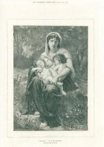 1874-FINE-ART-Antique-Print-Charity-William-Bouguereau-Paris-Salon-251