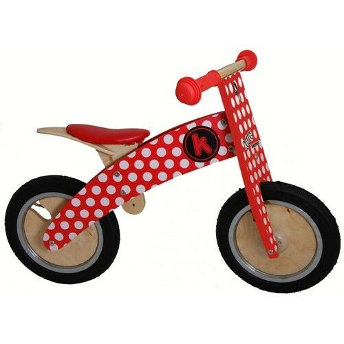 Kiddimoto Kurve Red Dotty Wooden balance bike no pedals bicycle trainer