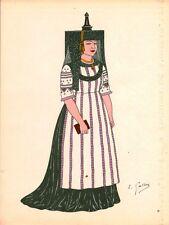 Gravure d'Emile Gallois costume des provinces françaises 1950 Bourgogne, Bresse