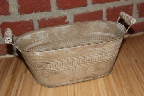 graubraun Zinkwanne♥wählbar 3 Größen♥leichte Zinkblechschale mit Holzgriffen