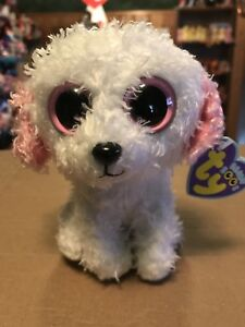 "Ty DIVA -White Pink Bichon Frise Dog 6"" Beanie Boo!  Retired  RARE ... 43a329890e8"
