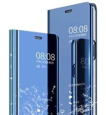 Transparent Etui Book Tasche Hülle CLEAR VIEW D. Blau Samsung Galaxy A7 2018