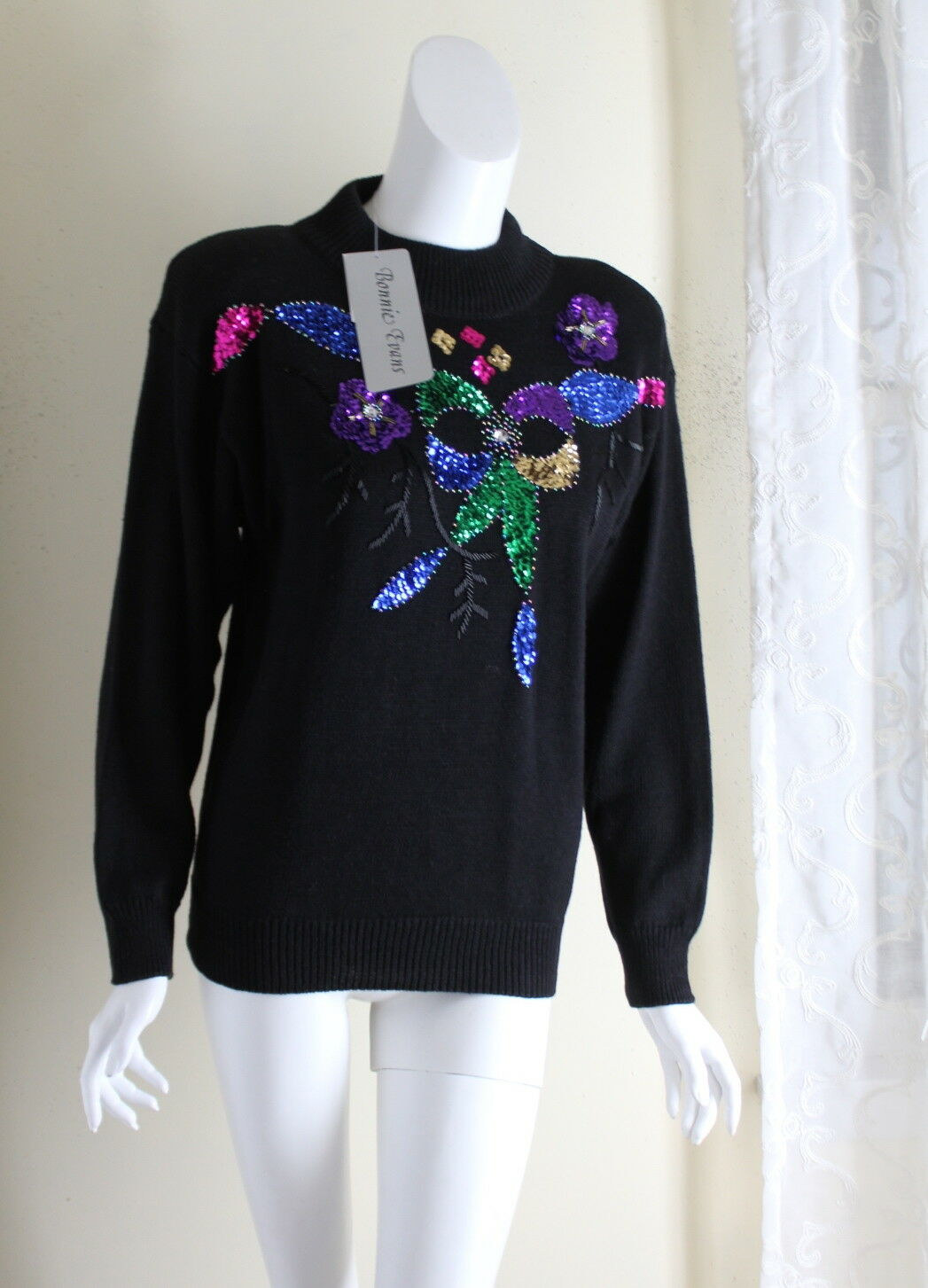 NWT Bonnie Evans -Sz S Funky Art Sequined Floral Party Deadstock Mock Turtleneck