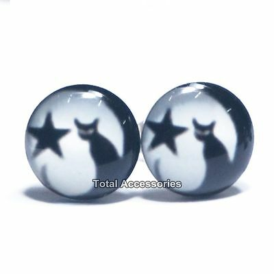Moon Star Cat Stainless Steel Stud Earrings - Mens Womens Fashion - New