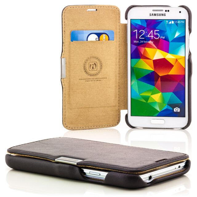 Echt Leder Tasche für Samsung Galaxy S5 G900 Schutz Hülle Etui Cover Case Braun