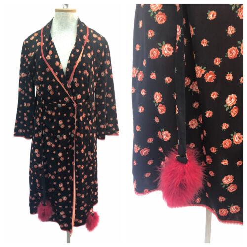 Vintage VTG 1970s 70s Black Floral Robe Dress with