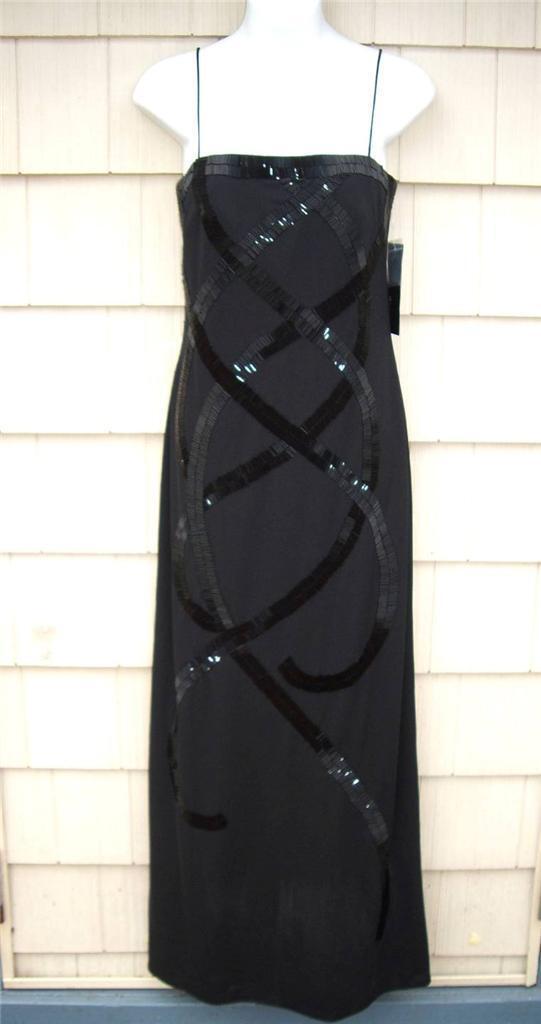 Nwt Js Boutique Pariser Gruppe Schwarz Säulen Kleid mit Stiftperlen Größe 6