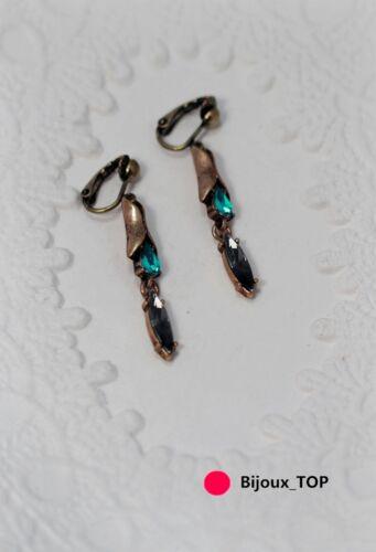 Boucles d/'Oreilles Clips Pendant Fin Goutte Metal Vert Gris Vintage EE 6