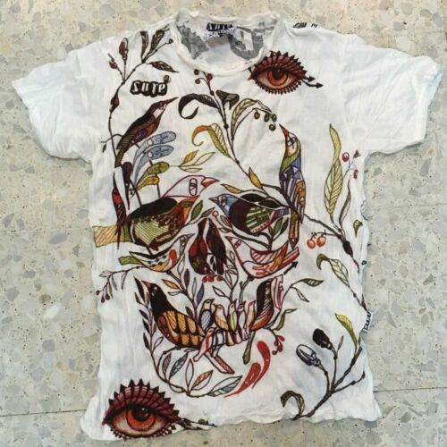 Men T Shirt short sleeve new cotton retro Rock Metal Scull Bird L RARE Sure