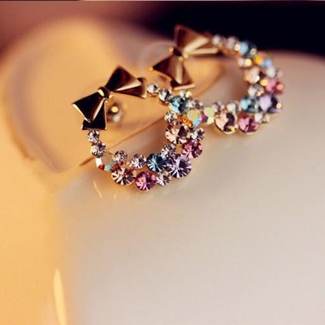 2 Pair Jewelry Women Colorful Crystal Rhinestone Gold Bowknot Ear Stud Earring