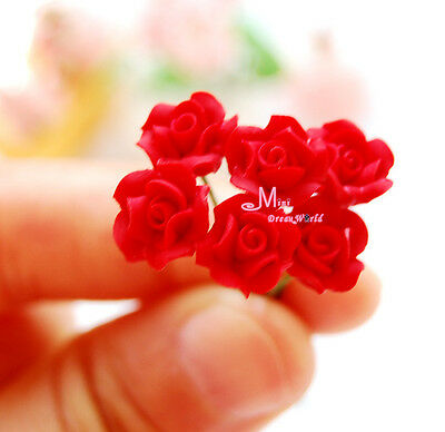 LOT OF 6PCS RED ROSE 1/12 Dollhouse Miniature Clay flower OP44