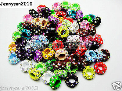 50pcs Big Hole Crystal Rhinestone Pave Colored Rondelle Spacer Charm Beads