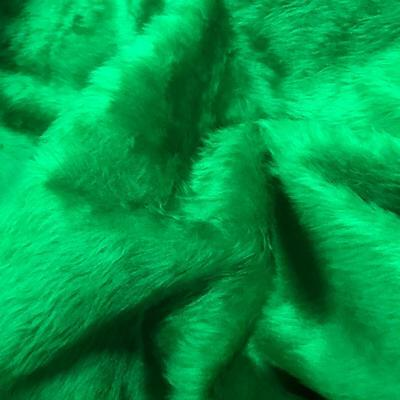 "Emerald Green Fur Fabric Material 60"" 150cm wide Plain 14mm Pile"