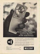 1962 Mallory Batteries Rechargable Flashlight PRINT AD