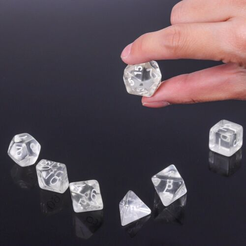 7Pcs Transparent Clear Polyhedral D4-D20 Dices For DND MTG RPG Table Board Games