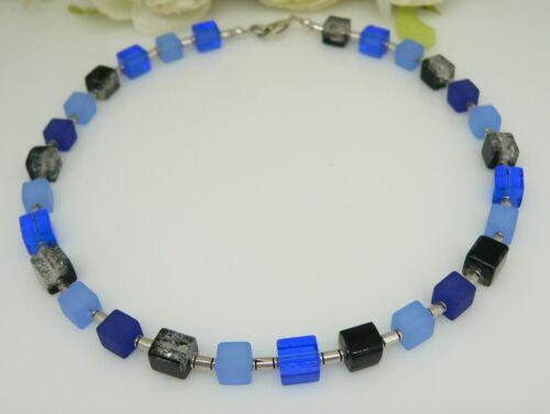 Cubo collar cadena perlas de vidrio de cubo azul azul claro azul oscuro negro 266kk