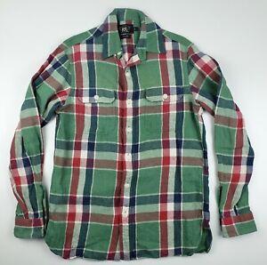 RRL-Ralph-Lauren-Plaid-Cotton-Linen-Blend-Work-Vintage-Style-Western-Shirt-Small