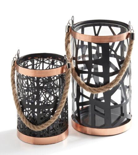 Danya B™ Set of 2 Filigree Hurricanes Glass Insert Rose Gold Trim /& Rope Handle