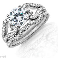 Side Heart Simulated Diamond Genuine Rhodium Sterling Silver Engagement Ring Set