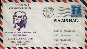 USA-Brief-Hilo-Hawaii-1932-Stempel-FDC-Luftpost-Flugpost-5c-Air-Mail-D-5877