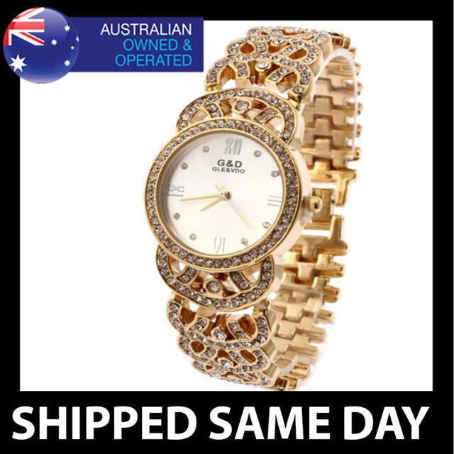 G&D WOMENS GOLD BLING DRESS WATCH LAB DIAMOND CRYSTALS Ladies Fashion Luxury 13