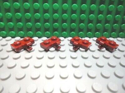 "Lego 4 Dark Red 1x2 plate with vertical side /""C/"" clip NEW"
