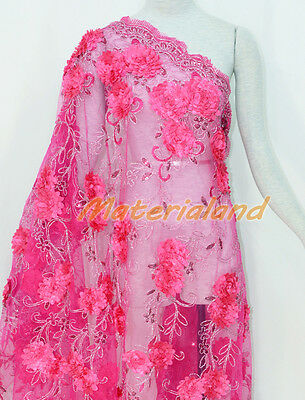 By Meter 124cm Width Hot Pink Satin Flower Embroided Sequinned Lace Fabric FA01A