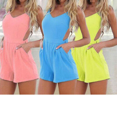 New Sexy Women Celeb Backless Playsuit Jumpsuit Romper Shorts Summer Beach